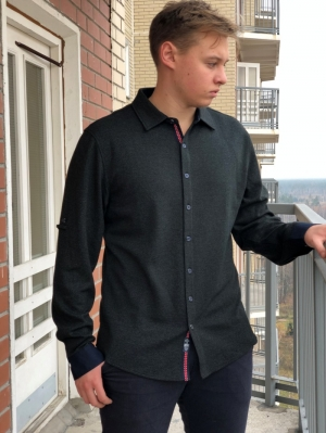 Рубашка муж. арт.15956 SHIRT DARK GREEN BATT