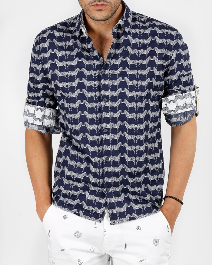 Рубашка муж. арт.15986 SHIRT NAVY BLUE COTTON
