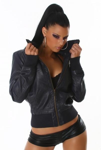 Короткая мужская кожаная куртка с мехом